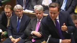 Prime Minister David Cameron (right) and Tory Whip Anrew Mitchell (left) in Parliament